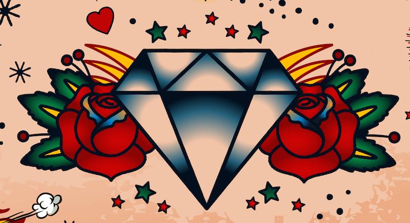 Simple Diamond Outline Tattoo